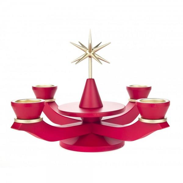 Dregeno Erzgebirge - Adventsleuchter ohne Bestückung für Teelichter, rot - 21cm