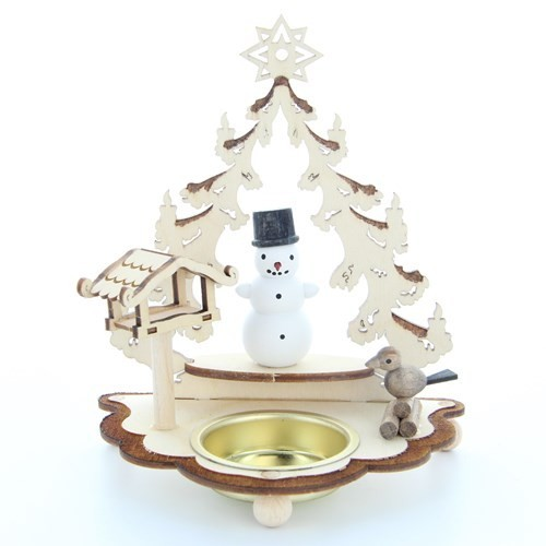 HELA Holzkunst - Teelichthalter - Baum mit Schneemann und Vogelhaus