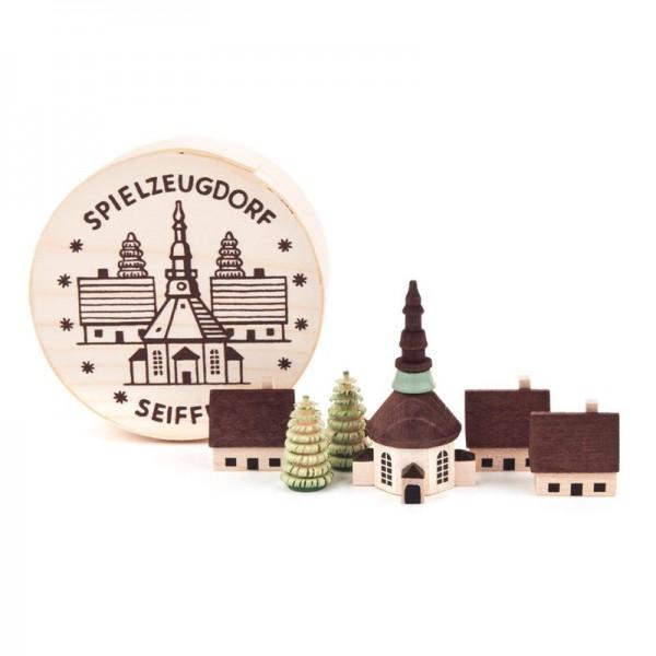 Dregeno Erzgebirge - Miniatur-Seiffener Dorf in Spandose
