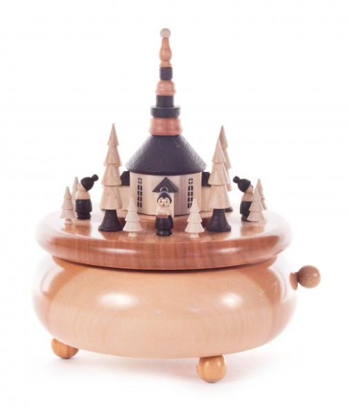 Dregeno Erzgebirge - Spieldose mit Seiffener Kirche und Kurrende klein, Melodie: Süßer die Glocken