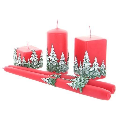 Weihnachtskerze Rot - Kerzenset mit Wald - 5-teilig