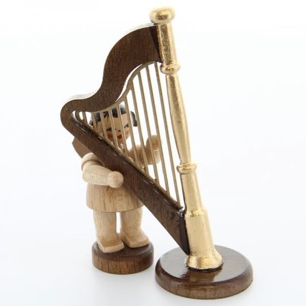 Uhlig Engel stehend mit Harfe, natur, handbemalt