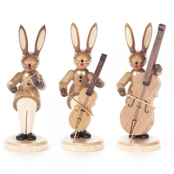 Dregeno Erzgebirge - Hasentrio Streicher natur mit Geige, Cello und Kontrabass