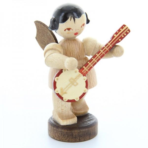 Uhlig Engel stehend mit Banjo, natur, handbemalt