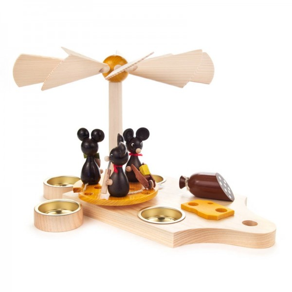 Dregeno Erzgebirge - Miniatur-Pyramide Frühstücksbrett mit Mäusen, für Teelichter