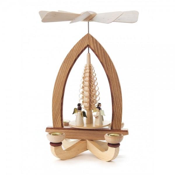 Dregeno Erzgebirge - Pyramide mit Spanbaum und kleine Engel, für Kerzen - 28cm