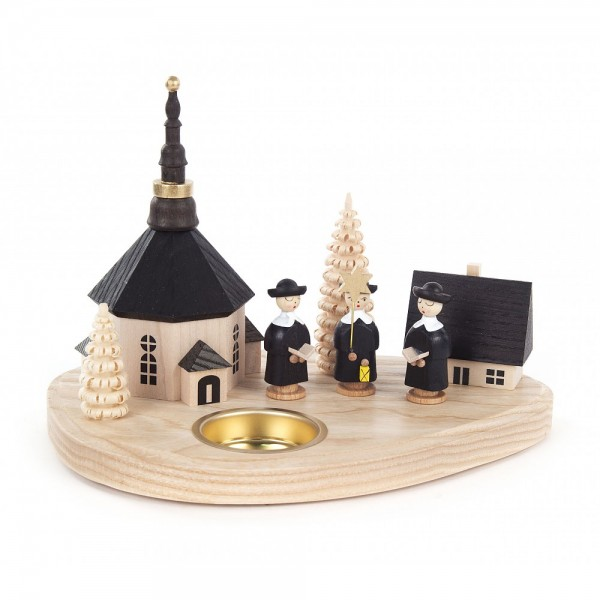 Dregeno Erzgebirge - Teelichthalter Seiffener Kirche und Kurrende - 13cm