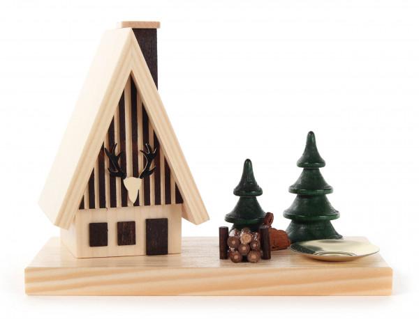 Dregeno Erzgebirge - Räucherhaus Waldhaus mit Hase, Bäumen und Kerzenhalter für Kerze Ø 14mm