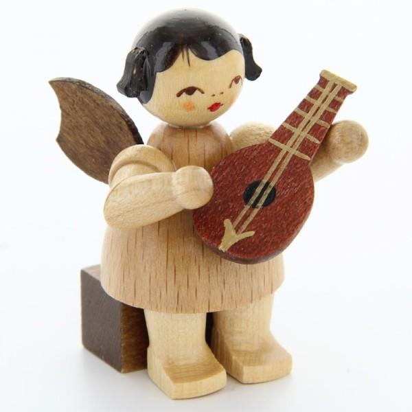Uhlig Engel sitzend mit Mandoline, natur, handbemalt