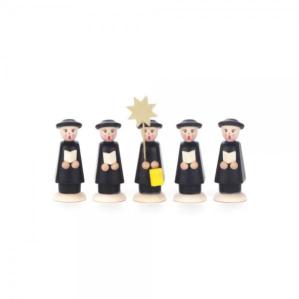 Dregeno Erzgebirge - Kurrendefiguren Sternträger und 4 Sänger mit Buch, schwarz
