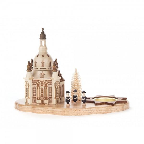 Dregeno Erzgebirge - Teelichthalter mit Dresdner Frauenkirche und Kurrende - 15cm