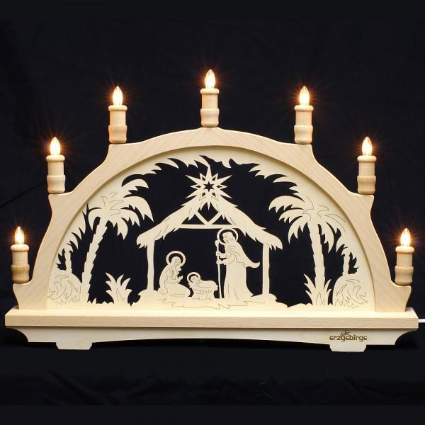Lichterbogen aus Buchenholz, einfach - Echt Erzgebirge - Motiv Christi Geburt