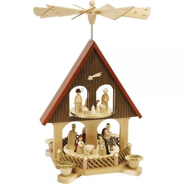 Richard Glässer Pyramidenhaus Erzgebirge 2-stöckig Christi Geburt 36cm