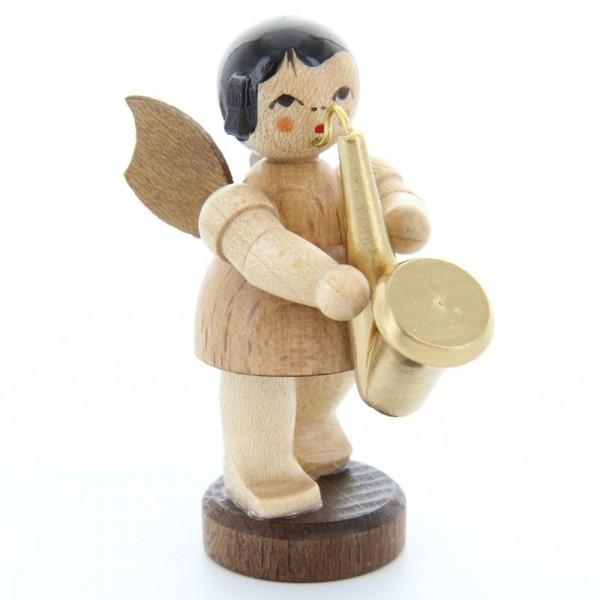Uhlig Engel stehend mit Saxophon, natur, handbemalt