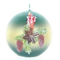 Weihnachtskerze Grün - Kugel mit Kerze - 7cm