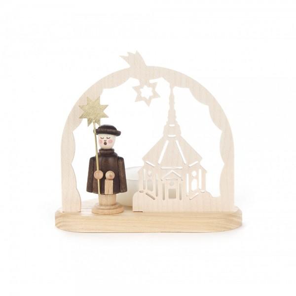 Dregeno Erzgebirge - Teelichthalter mit Seiffener Kirche und Kurrendefigur - 9cm