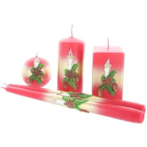 Weihnachtskerze Rot - Kerzenset mit Kerze - 5-teilig