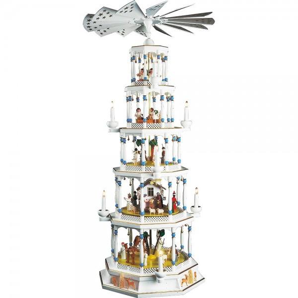 Richard Glässer Erzgebirgspyramide Romantik weiß 5-stöckig elektrisch mit Spielwerk 123cm