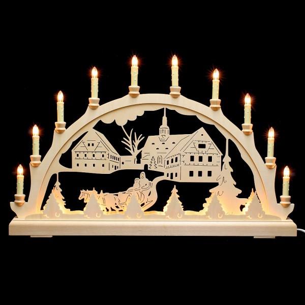 HELA Holzkunst - Schwibbogen Erzgebirge 16flammig - Kirche mit Pferdeschlitten indirekt beleuchtet