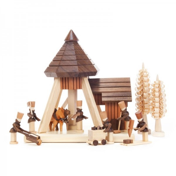 Dregeno Erzgebirge - Miniatur-Pferdegöpel mit Bergleuten