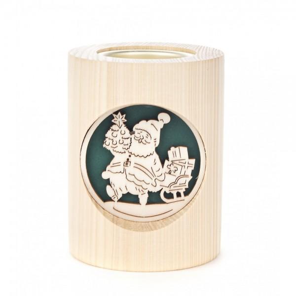 Dregeno Erzgebirge - Teelichthalter 10cm natur - Motiv Weihnachtsmann und Glocke
