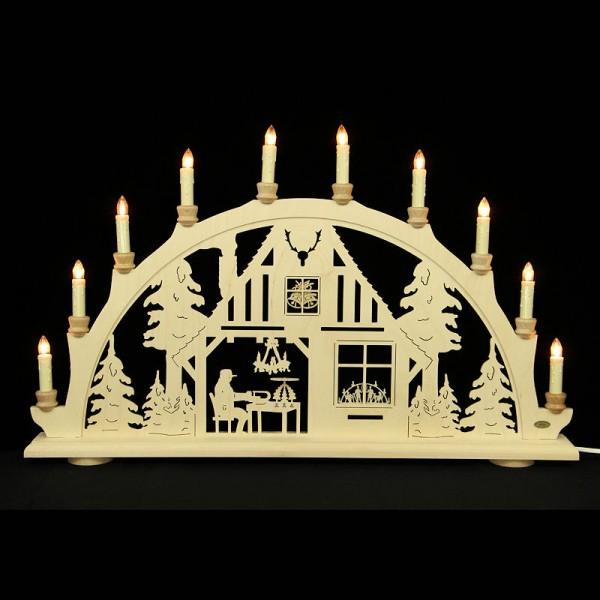 HELA Holzkunst - Schwibbogen Erzgebirge 10flammig - Weihnachtsstube
