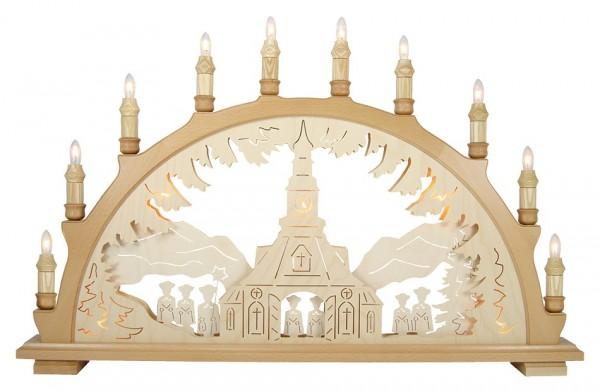 Lenk & Sohn Schwibbogen Erzgebirge 3-fach, 10-flammig Motiv Seiffener Kirche