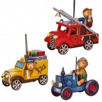 Hubrig Neuheit 2018 - Set 4 - Baumbehang Teddy - Feuerwehr, Postauto, Traktor