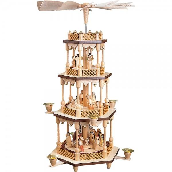 Richard Glässer Erzgebirgspyramide Christi Geburt 3-stöckig 54cm