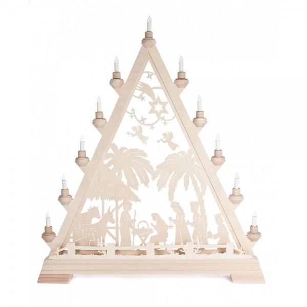 Dregeno Erzgebirge - Weihnachtsspitze mit Christi Geburt - elektrisch beleuchtet