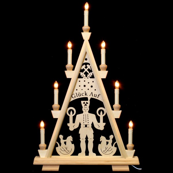Holzkunst Niederle - Lichterspitze 3 Etagen - Bergmann (Glück auf)