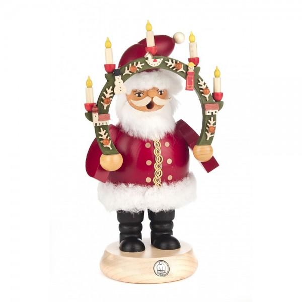 Dregeno Erzgebirge - Räuchermann Weihnachtsmann mit Kerzenbogen - 21cm