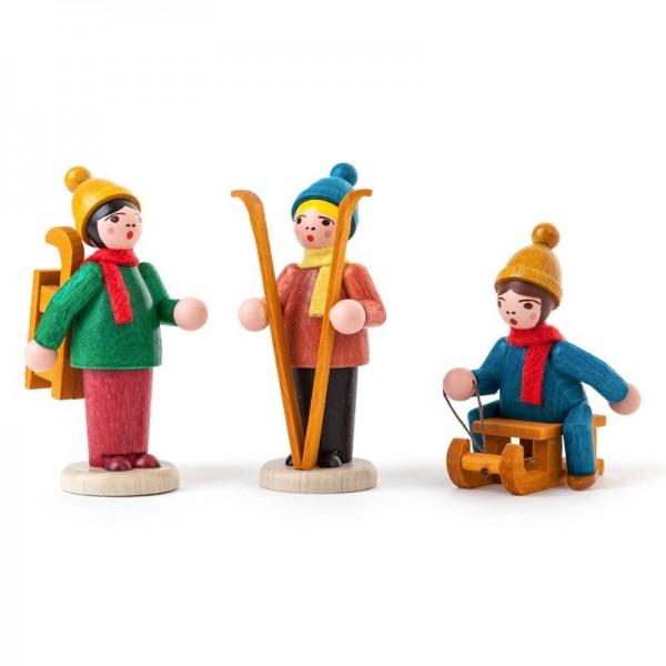 Dregeno Erzgebirge - Miniatur-Wintersportler, farbig, lasiert, 3-teilig