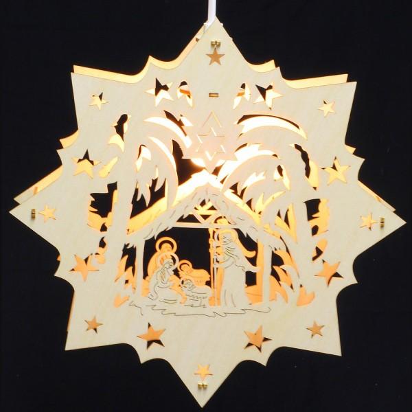 Fensterbild Erzgebirge beleuchtet - Motiv Krippe - 27cm