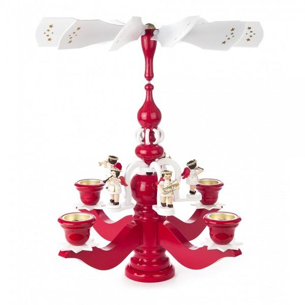 Dregeno Erzgebirge - Pyramidenleuchter rot mit Engel, für Teelichte - 46cm