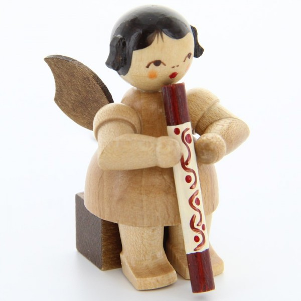 Uhlig Engel sitzend mit Didgeridoo, natur, handbemalt