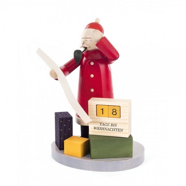 Dregeno Erzgebirge - Räuchermann Weihnachtsmann mit Weihnachts-Countdown- 21cm