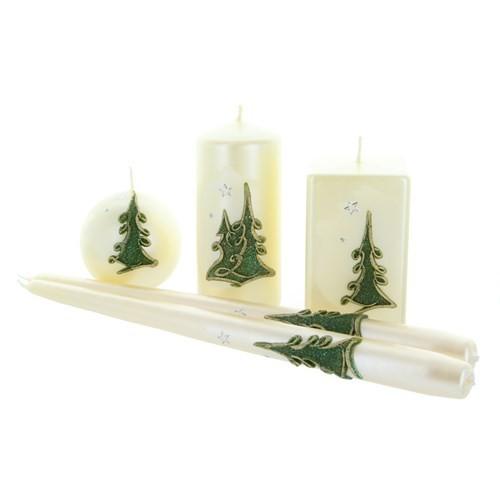 Weihnachtskerze Weiß-metallic - Kerzenset mit Tanne - 5-teilig