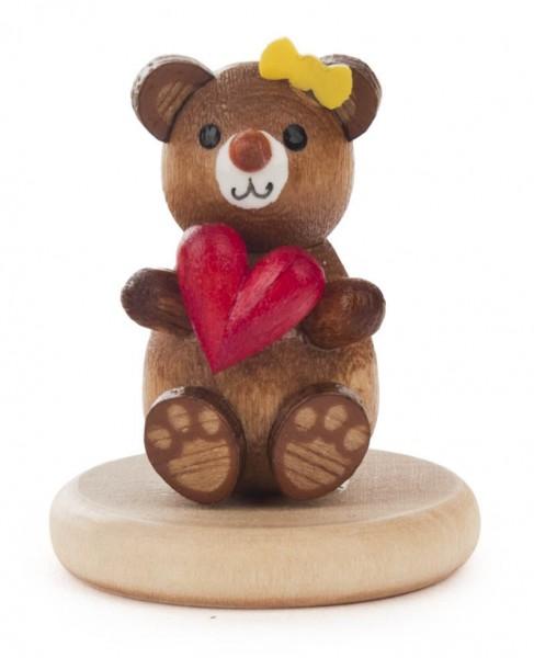 Dregeno Erzgebirge - Bär mit Herz auf Sockel
