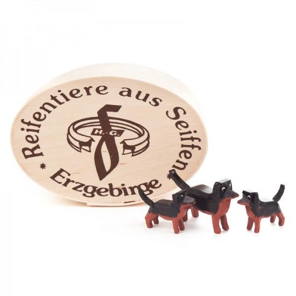Dregeno Erzgebirge - Miniatur-Dackelgruppe in Spandose