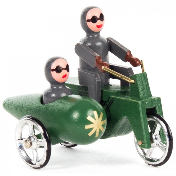 Dregeno Erzgebirge - Miniatur-Motorrad mit Seitenwagen grün