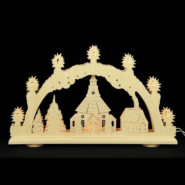 HELA Holzkunst - 3D Schwibbogen Erzgebirge 10flammig - Seiffen