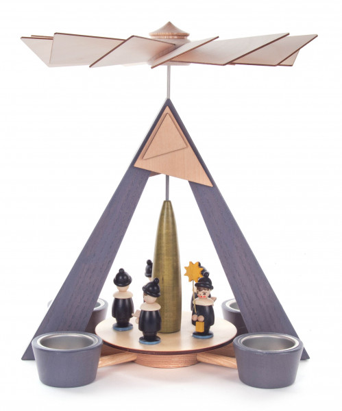 Dregeno Erzgebirge - Pyramide mit Kurrende, grau mit farbigen Figuren, für Teelichte