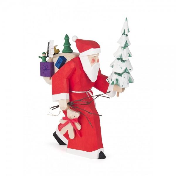 Dregeno Erzgebirge - Schnitzerei - Weihnachtsmann mit Baum und Geschenken - 21,5cm