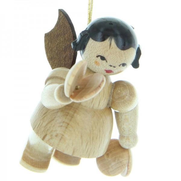 Uhlig Engel schwebend mit Kastagnetten, natur, handbemalt