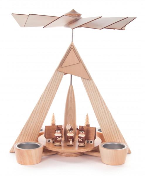 Dregeno Erzgebirge - Pyramide mit Seiffener Dorf und Kurrende natur, für Teelichte