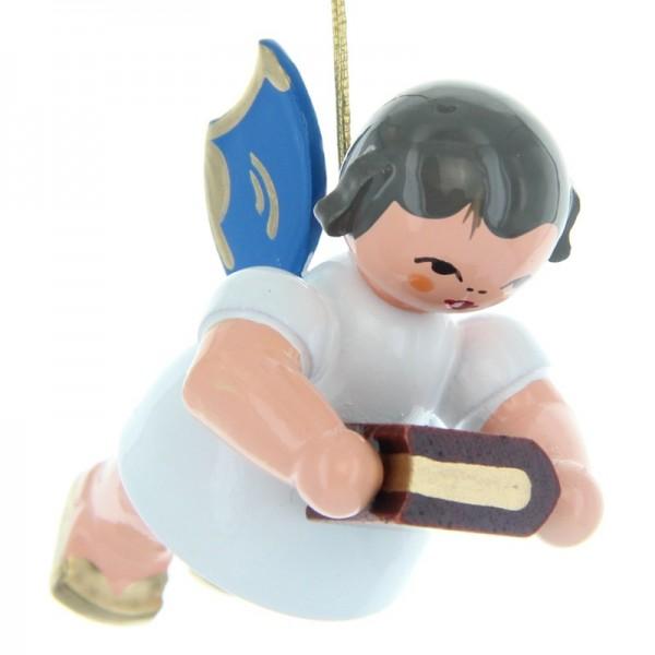 Uhlig Schwebeengel mit Bibel, blaue Flügel, handbemalt