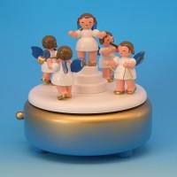 Andre Uhlig Spieluhr blau/weiß mit 5 Engel