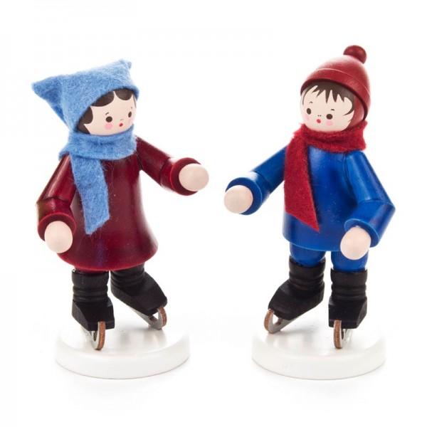 Dregeno Erzgebirge - Miniatur-Schlittschuhkinderpaar, farbig