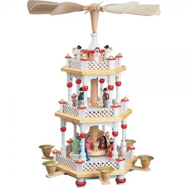 Richard Glässer Erzgebirgspyramide Christi Geburt 2-stöckig weiß 40cm